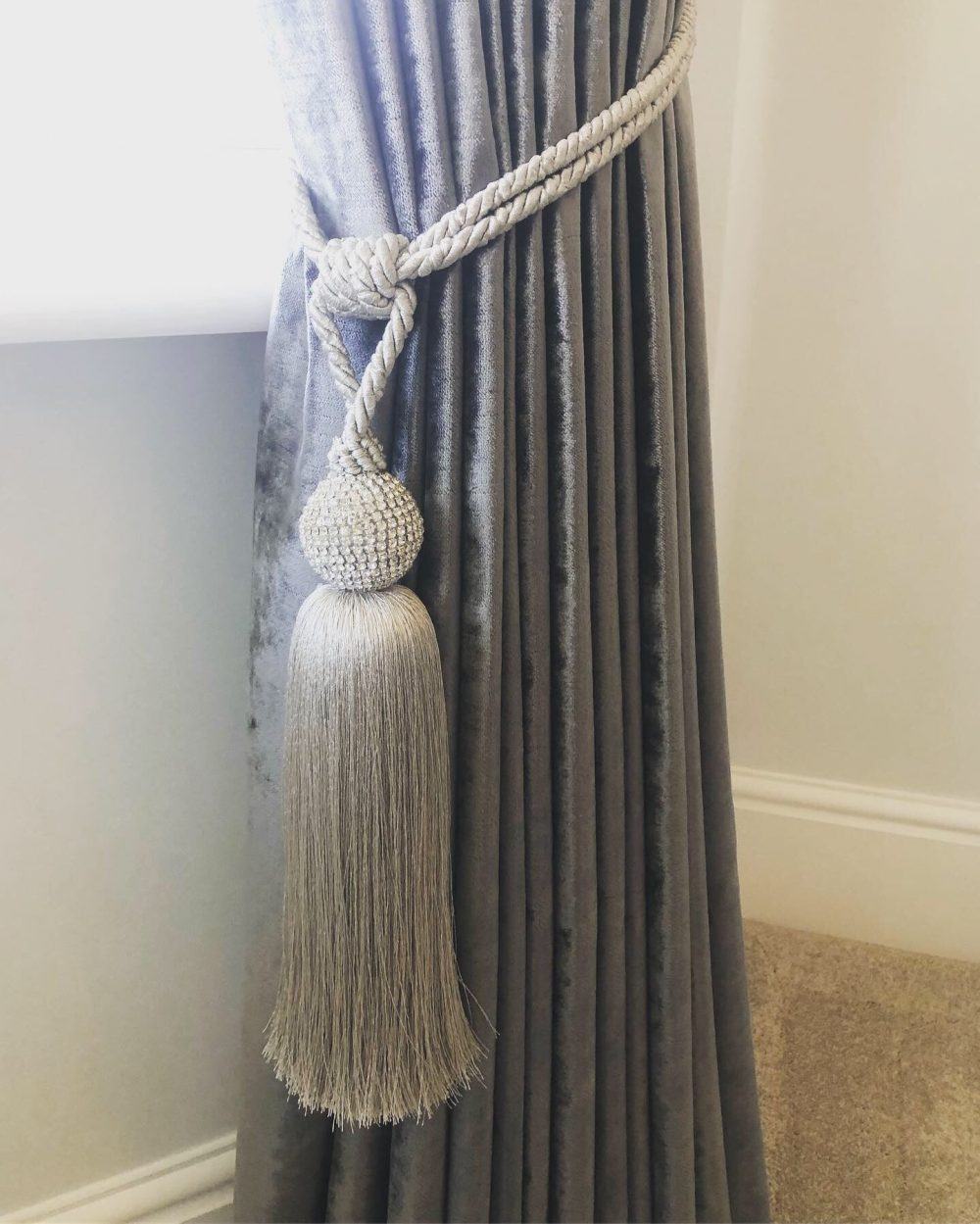Claire Davies Grey with Tassel curtains 2-min